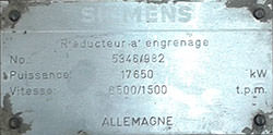 Inspection of a SIEMENS gearbox